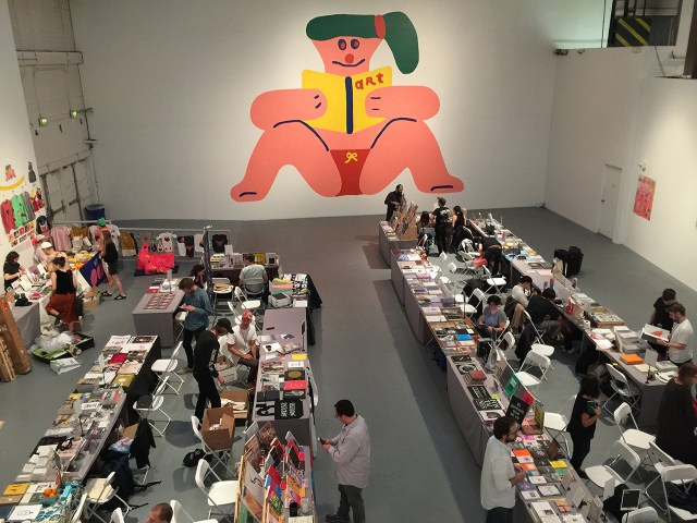 A mural by dominates one of the many sections of the 2016 LA Art Book Fair (all photos by the author for Hyperallergic)