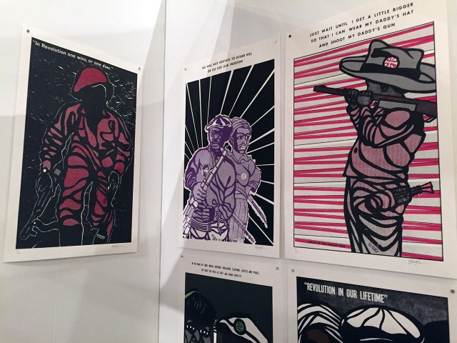 Posters by Emory Douglas in Richard Bell's Aboriginal Embassy booth. The images are taken from his influential Black Panther-related period.