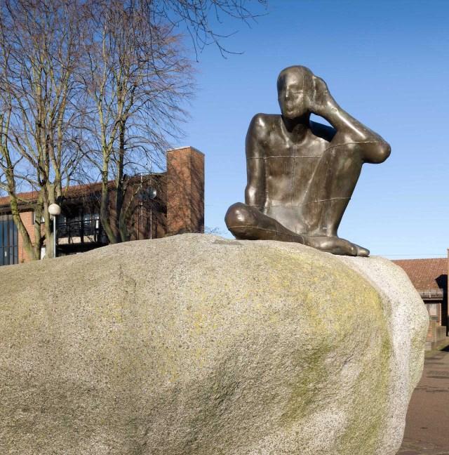 """Antony Gormley, """"Untitled [Listening]"""" (1983-84) at Maygrove Peace Park, London (© Historic England)"""