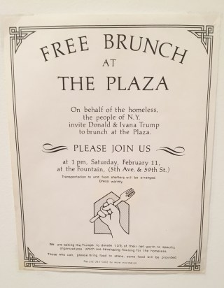 Flyer inviting Donald and Ivana Trump to brunch at the Plaza (photo by the author for Hyperallergic) (click to enlarge)