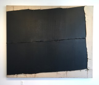 """""""Untitled"""" (1975), Canvas, metal, rubber, and thread on canvas, 75.5 x 90 in. (Image courtesy the author for Hyperallergic.)"""