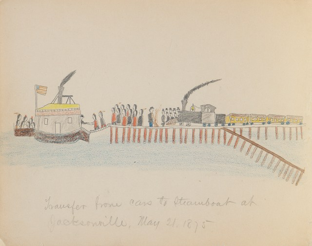"""Bear's Heart, """"Transfer from Cars to Steamboat at Jacksonville"""" (May 21, 1875), paper, graphite, crayon. Drawing titled in pencil by Lt. Richard Henry Pratt. (photo by Carmelo Guadagno, NMAI)"""
