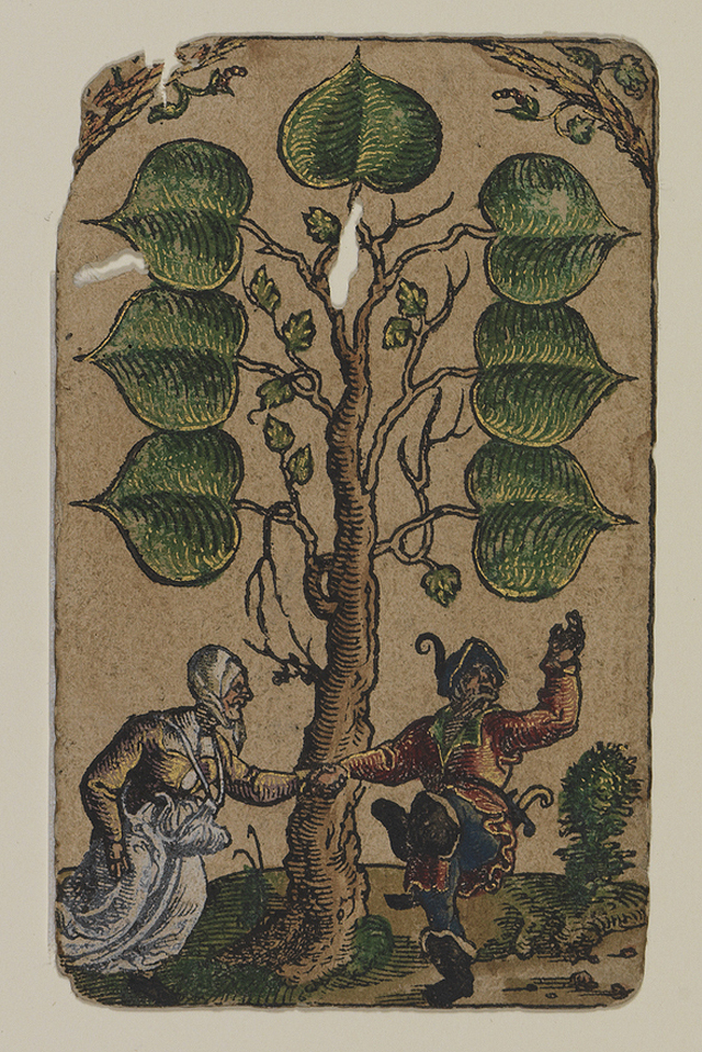 """""""7 of Leafs"""" from """"The Playing Cards of Peter Flötner,"""" published by Hans Christoph Zell (Nuremberg, 1540), woodcut on paper with watercolor, opaque paint, and gold, 4 1/8 x 2 3/8 inches (© Germanisches Nationalmuseum, Nuremberg, photo by Monika Runge)"""