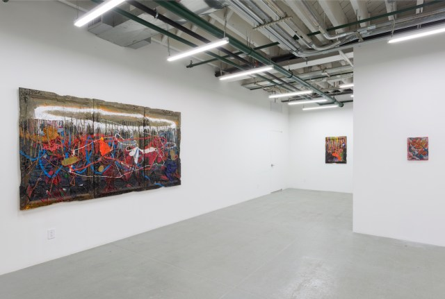 Installation view of 'Jigger Cruz: Smudging Dirty Little Touch' at Albertz Benda Gallery (all images courtesy the artist and Albertz Benda Gallery)