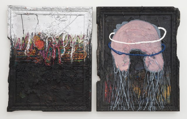 """Jigger Cruz, """"Poor Sunset Boulevard"""" (2015), oil on canvas and wood, diptych: 47 1/2 x 76 1/2 x 3 in"""