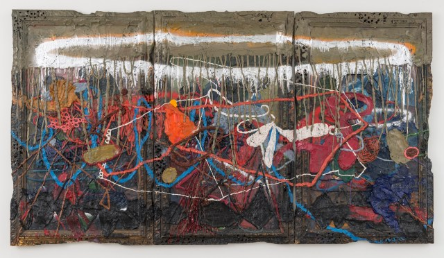 """Jigger Cruz, """"Silent Waltz from the Ancient Atoms of Hell"""" (2015), oil on canvas and wood, triptych: 60 x 109 x 3 1/2 in"""