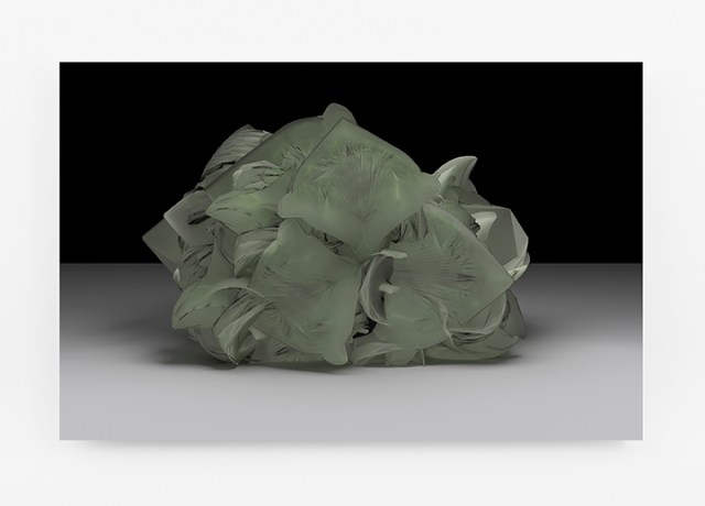 "Sara Ludy, ""Cabbage Head (Energy Sponge)"" (2015), from the series 'Animistics Dye,' sublimation on aluminum, 40 x 26 in / 101.6 x 66 cm"