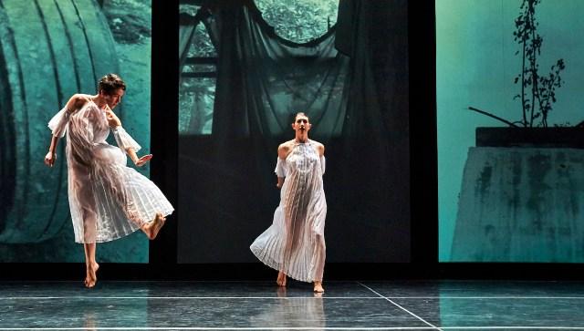 "Cori Kresge (left) and Emily Stone (right) in Stephen Petronio Company's performance of Trisha Brown's ""Glacial Decoy"" (photo by Robert Altman, courtesy Stephen Petronio Company)"