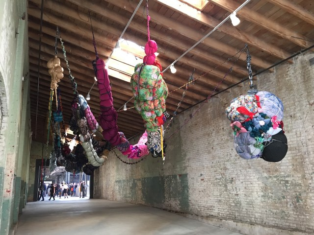 """Shinique Smith, """"Forgiving Strands"""" (2015-2016), clothing, fabric, ribbon, rope, found objects, dimensions variable"""