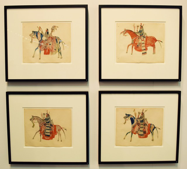 Installation view of 'Keeping Time: Plains Indian Ledger Drawings, 1865–1900' in the Donald Ellis Gallery booth at the 2016 Armory Show