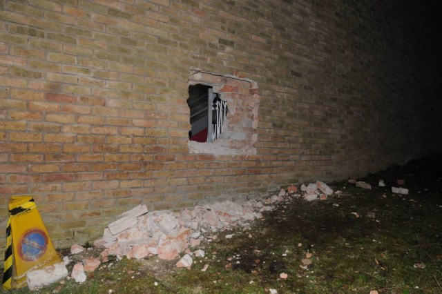 The gang successfully robbed the Durham University Oriental Museum twice and attempted to rob it a third time, digging a large hole into its exterior wall. (photo courtesy Durham Police)