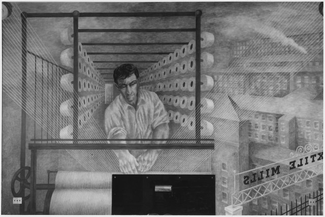One of the murals in the Bronx Post Office by Ben Shahn, showing a textile worker with factory buildings (via National Archives and Records Administration/Wikimedia)