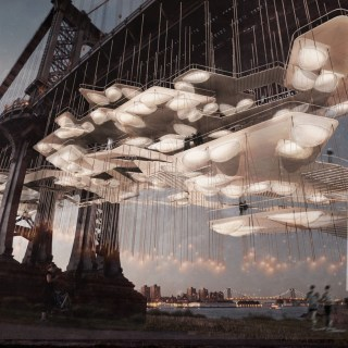 """Constellation Park"" rendered on the Manhattan Bridge, designed by the Death Lab at Columbia University's Graduate School of Architecture, Planning and Preservation (courtesy Death Lab)"