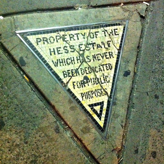 Hess Triangle in New York (photo by the author for Hyperallergic)