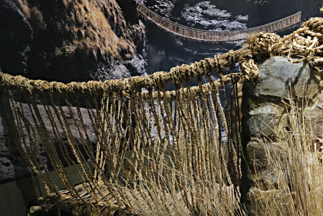 The Inca rope bridge in 'The Great Inka Road: Engineering an Empire' at the National Museum of the American Indian in Washington, DC