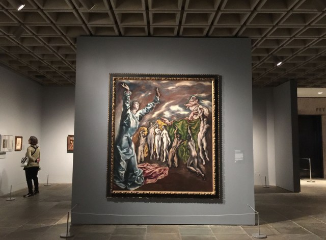 """El Greco's """"The Vision of Saint John"""" ( c. 1609–14) in one of The Met Breuer's new galleries (all photos by the author for Hyperallergic)"""