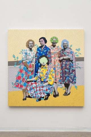 """Daisy Patton, """"Untitled (Fie Patterned Women),"""" mixed media painting, oil on inkjet print, mounted on panel, 72 x 72 in"""