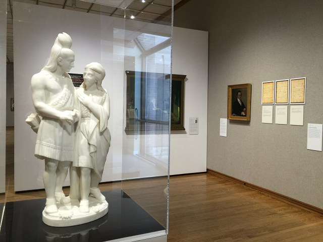 "Edmonia Lewis's ""The Marriage of Hiawatha"" (TK), with Henry Ossawa Tanner's ""The Holy Family"" and Joshua Johnson's portrait of Thomas Boyle (click to enlarge)"
