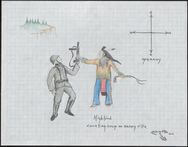 """Chester Medicine Crow, """"Highbird Counting Coup on Enemy Rifle"""" (2012), graph paper, graphite, colored pencil, ink (photo by Ernest Amoroso/NMAI)"""