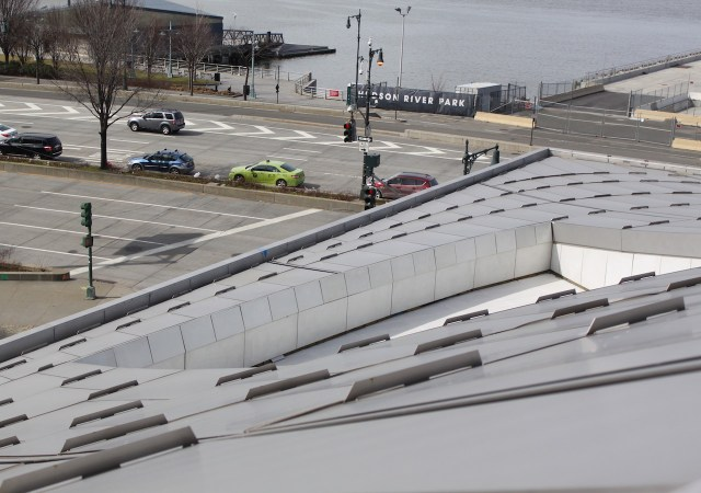 Looking down the roof of Via 57 West toward Hudson River Park
