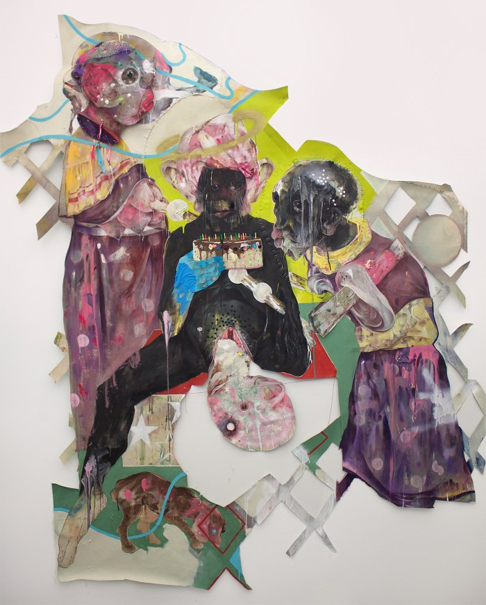 """Lavar Munroe, """"Institution of Captivity"""" (2015), acrylic, latex house paint, spray paint, fabric paint, pencil, string, and staples on cut unprimed canvas, 84'' x 90''"""