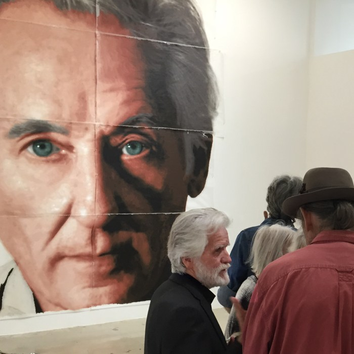 Kent Twitchell on opening night of 'The Man Who Paints Giants' at Lam Gallery in Los Angeles (photo by María Margarita López for viewfromaloft)