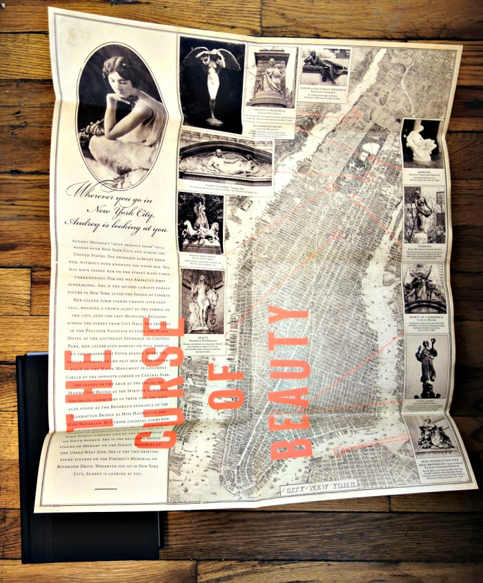 Fold-out dust jacket of 'The Curse of Beauty' that has a map of statues in New York city for which Audrey Munson modeled (photo of the book for Hyperallergic)