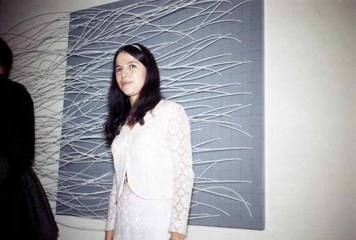 Eva Hesse at the opening reception for 'Eccentric Abstraction,' 1966 (photo by Norman Goldman)