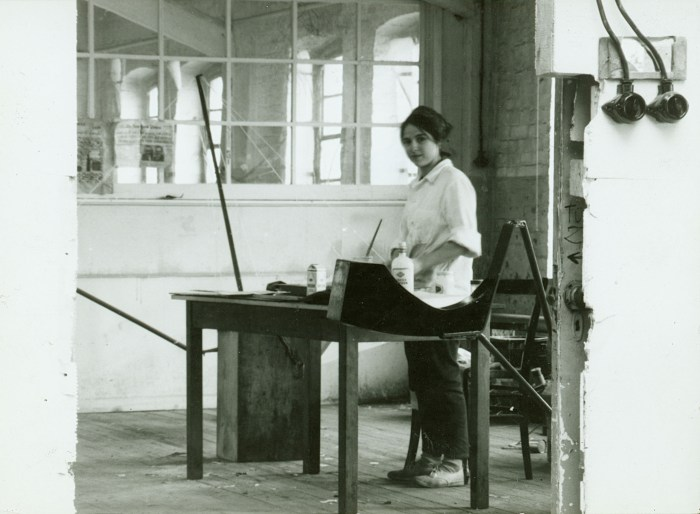Eva Hesse at the Textile Factory Studio in Kettwig, Germany, in 1964 (photographer unknown)