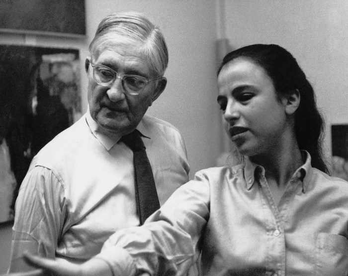 Eva Hesse with Joseph Albers at Yale, circa 1958 (photographer unknown)