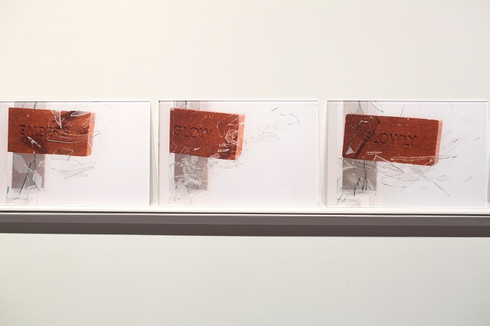 """Detail view of Anthony Marcellini, """"When Bricks Become Verses"""" (2016), 26 photographs on shelf, produced with Forterra Brick, Corunna, Michigan, and photographed by P.D. Rearick (all images courtesy Anthony Marcellini and Simone DeSousa Gallery)"""