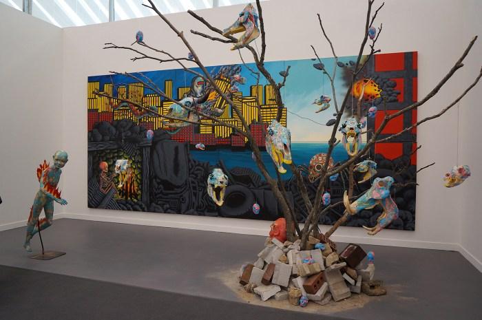 "David Wojnarowicz, ""Untitled (Burning Boy Installation)"" (1985), at PPOW's booth"