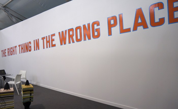 """Lawrence Weiner, """"THE RIGHT THING IN THE WRONG PLACE"""" (2016) at Alfonso Artiaco"""