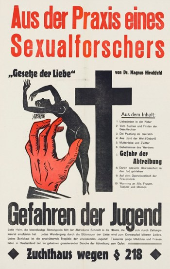 """Filmposter for Hirschfeld's """"Gesetze der Liebe"""" (The rules/laws of love), 1927"""