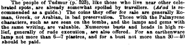 Advice from Baedeker's (Palestine and Syria, 1st English edition, 1876)