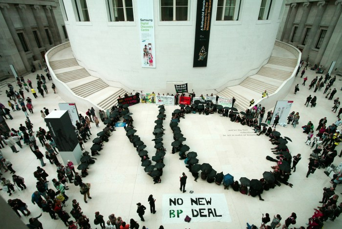 Performers from the Art Not Oil coalition call for an end to BP sponsorship at the British Museum last September (photo by Anna Branthwaite, all courtesy Art Not Oil)