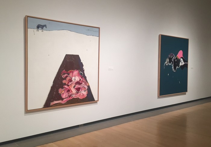 """Installation view, 'Super Indian: Fritz Scholder' at the Phoenix Art Museum, with """"Massacre in America: Wounded Knee"""" (1972) in foreground left (click to enlarge)"""