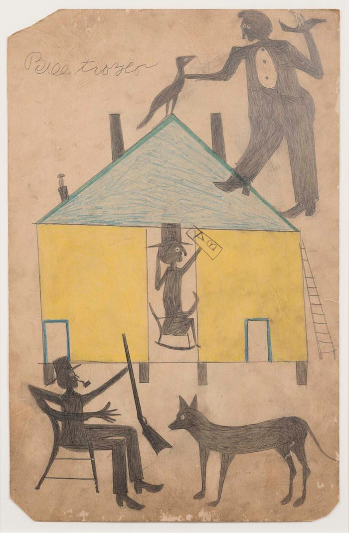 "Bill Traylor, ""Untitled (Yellow and Blue House with Figures and Dog)"" (1939-42), colored pencil on cardboard, 22 1/4 × 14 1/4 inches (courtesy Smithsonian American Art Museum)"