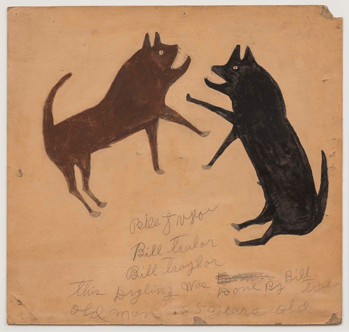 "Bill Traylor, ""Untitled (Dog Fight with Writing)"" (1939-42), opaque watercolor, pencil, and charcoal on cardboard, 21 × 22 inches (courtesy Smithsonian American Art Museum)"
