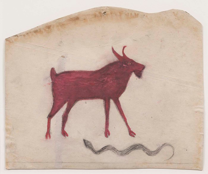"Bill Traylor, ""Untitled (Red Goat with Snake)"" (1939-42), opaque watercolor and pencil on cardboard, 11 3/4 × 14 1/4 inches (courtesy Smithsonian American Art Museum)"
