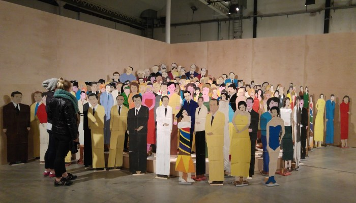 """Guy Brunet's hand-painted """"actors"""" in 'Guy Brunet Réalisateur : Le Studio Paravision' at Lieu Unique"""