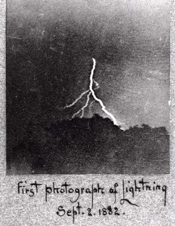 "William Jennings's September 2, 1882 ""first photograph of lightning"" (via WHYY)"
