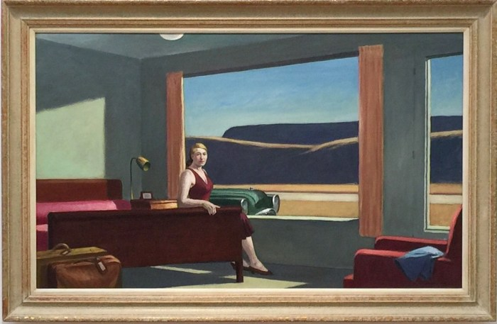 "Edward Hopper, ""Western Motel"" (1957) at Yale University Art Gallery (photo by Hrag Vartanian for Hyperallergic)"