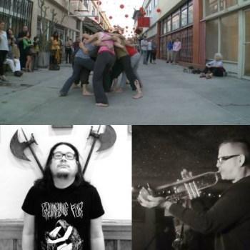 """clockwise from top: Simone Forti, """"Huddle,"""" Dan Clucas, Bobb Bruno (via facebook)"""