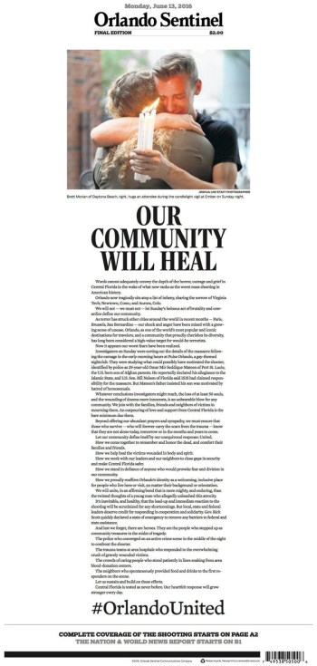 Front page of 'Orlando Sentinel,' image via the Huffington Post