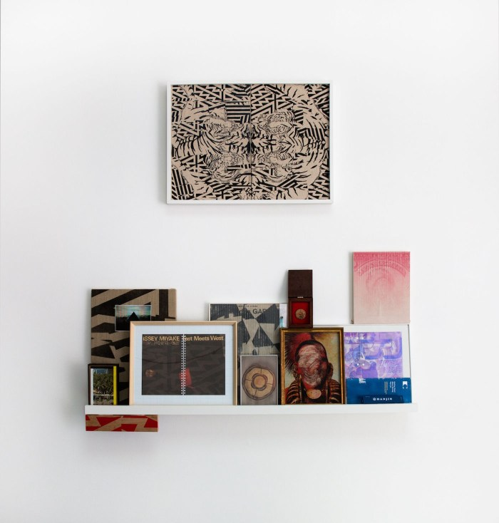 """Jason Lujan, """"Study for Two Houses at War"""" (2016, above), paint on linen, framed, 18 x 24 in; and """"Found and Collected Items"""" (2015–16, below), framed and unframed works on shelf, dimensions variable"""