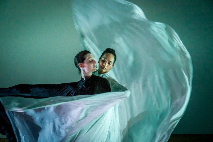 Time Lapse Dance, 'Ice Cycle,' choreography by Jody Sperling, dancers: Krissy Tate (in black), Alejandra Dominguez (in white) (photo by Steve Soblick)
