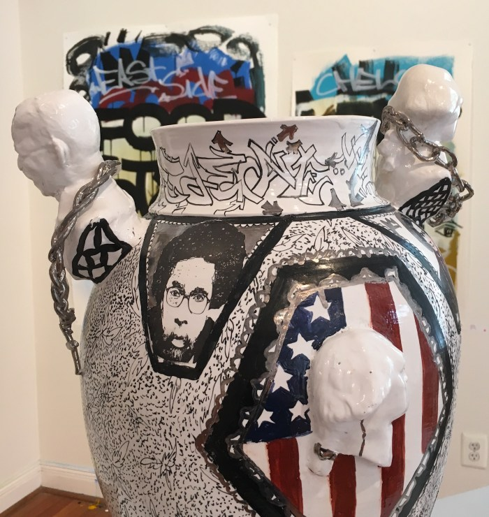 """Roberto Lugo, """"African Refugee Century Vase"""" (2015) (photo by the author for Hyperallergic)"""