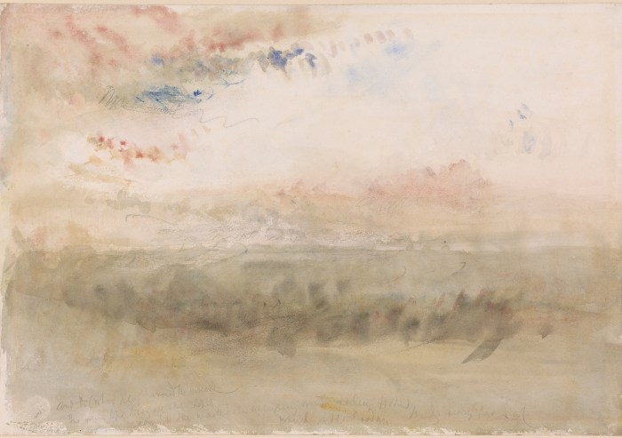"Joseph Mallord William Turner, ""Wreck on the Goodwin Sands: Sunset"" (1845), watercolor and graphite, with black chalk, on paper, 9 1/8 x 13 1/8 inches (courtesy the Morgan Library and Museum)"
