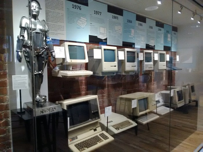View of the Mac Museum at Tekserve; the Apple Lisa (https://en.wikipedia.org/wiki/Apple_Lisa), bottom row, third computer from left, was released in early 1983, had only 1 megabyte of RAM, and sold at $9,995.(photo by the author for Hyperallergic)